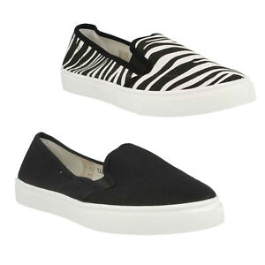 LADIES SPOT ON FLAT SLIP ON CASUAL SUMMER PUMPS EVERYDAY CANVAS SHOES F8R0027