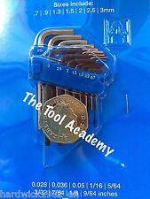 Mini Metric 0.7mm > 3.0mm + AF Imperial Hex Allen Key Set In Packet + Holder