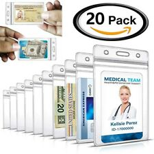 20Pcs ID Card Holder Clear Plastic Badge Resealable Waterproof Business Case