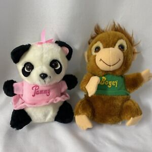 """Lot of 2 Shirt Tales Bogey Monkey Pammy Panda VTG 1981 8"""" Plush Hallmark"""