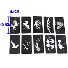 10 Airbrush Stencil Cat Horse Bird for Body Paint Temporary Tattoo 10.1x5.1cm