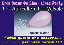 ASTE E VALVOLE per PALLONCINI  colore BIANCO 100 Pz. FESTA PARTY ANIMAZIONE