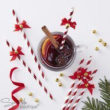 Rosso e Bianco Cannucce Carta a Righe con Fiocchi e Campane-Festa di Natale-gamma in negozio