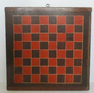"""Antique 15"""" x 15"""" Wood Checkerboard Game Board"""