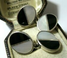 VINTAGE STERLING SILVER OVAL ONYX & MOTHER OF PEARL CHAIN CUFFLINKS