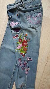 Damen Jeanshose Hose von Blind Date Gr L mit Blumen Stickerei