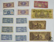 Lot of 14: 1962 & 1953 South Korea 10 Jeon & 10 Hwan Vg Circ Banknotes Vintage
