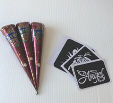 Natural Brown Henna Cones With Stencils Kit Temporary Tattoo Body Art