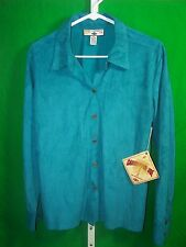 Caribbean Joe Womens  SOFT sueded  turquoise shirt decorative buttons SZ M   NWT