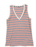 New Madewell Cotton L Whisper V-Neck Tank Stripe Bright Ivory Red Blue T Shirt