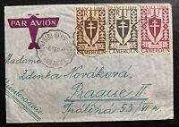 1945 Bonaberi French Cameroon Airmail Cover To Prague Czechoslovakia