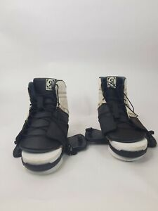 Ronix Divide Size US 7.5-11.5 Wakeboard Bindings -White Black Boots