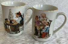 Norman Rockwell Museum Collectible 2 Cups Vtg The Toy Maker / For A Good Boy