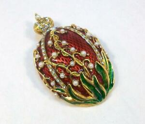Vtg Signed MMA FBS Metro Museum of Art FABERGE LILY OF THE VALLEY EGG Enamel Pin