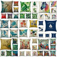 Conjunto de 4 cuadrados Tirar Funda para Almohadón Algodón Lino Sofá Sofá-Cama de coche Cushion Covers