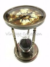 NAUTICAL BRASS ANTIQUE HOURGLASS SAND TIMER COMPASS BOTH END VINTAGE HOME DECOR