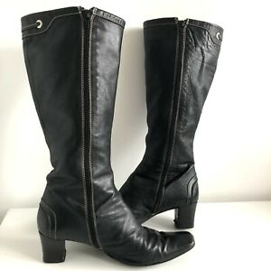Paco Herrero Black Leather Long Boots Size UK 7 Zips Chunky Heels Square Toes