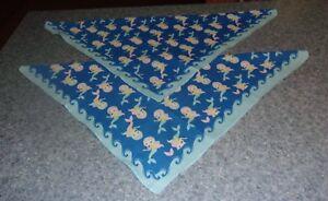 Set of Two Brand New Blue Mermaid Beach Dog Bandanas MEDIUM LARGE Tie On Scarf