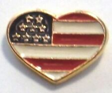 Usa American Heart Flag Lapel, Hat, Tie Pin in Gold Plate Made in Usa by Osc New