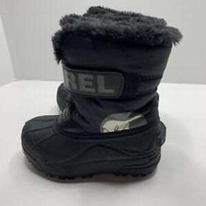 Sorel Boys Girls Snow Commander Winter Boots Size 11 Black Charcoal NC1877-010