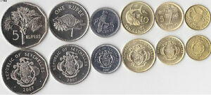 Seychelles 1 cent to 5 rupees set coins 6PCS(Year of random)