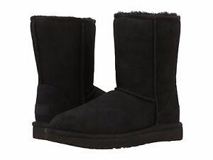 Women's Shoes UGG CLASSIC SHORT II Mid-Calf Sheepskin Boots 1016223 BLACK