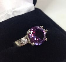 BEAUTIFUL 4ct Alexandrite Ring Sterling Silver NWT Sz 7 Wide Band Color Change