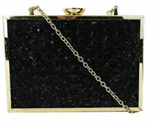 ** I.N.C. INTERNATIONAL CONCEPTS Black  Rhinestone Large Box Clutch Msrp $69.50