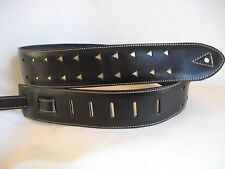 LEATHER BLACK WITH GOLD TIPS BASS, ACOUSTIC GUITAR STRAP