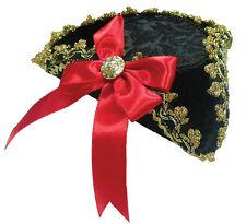 Nero con finiture oro Pirata Mini Tricorn Hat con Grip Capelli Accessorio Costume