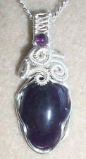 Purple Amethyst Gemstone Cabochon Wire Wrapped  Pendant Necklace