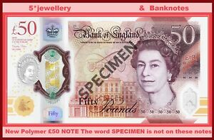 NEW Bank Of England £50 Pounds Polymer Plastic UNC Banknotes 2021