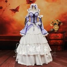 NEW Japan Anime Chobits Chi LOLITA White Purple Ball Gown Skirt Cosplay Costume