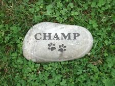 """Pet grave marker 5"""" custom engraved free shipping 100% real river rock"""