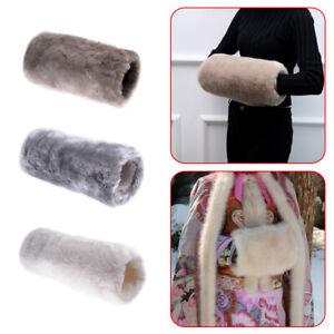 35cm Women Super Soft Faux Fur Muff Hand Gloves Warmer Winter Mittens Em
