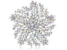 Dandelion Inspired Flower Floral Snowflake Abstract Clear Rhinestone Brooch Pin