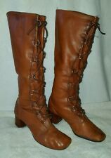 Women's Tall vintage brown winter granny lace up hippie riding boots sz 7.5