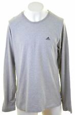 ADIDAS Mens Top Long Sleeve UK 46 2XL Grey Cotton Slim  LO17