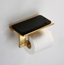 Brushed Gold Toilet Paper Holder Wall Mounted Brass Single Bar With Phone Shelf