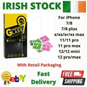Tempered Glass Screen Protector For iPhone 7 8 Plus X XS XR 11 12 Pro/Max 9H