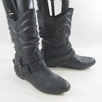 new ladies Black Round Toe Sexy Ankle Boot Side Buckle Us Womens Size 8.5