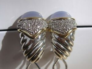$1875 DAVID YURMAN 18K GOLD BLUE CHALCEDONY DIAMOND EARRINGS