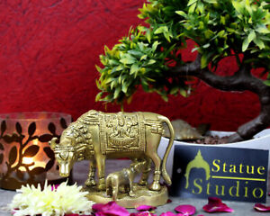 "Indian Brass Handicraft Sacred Cow Calf Religious Gift Décor Idol Statue 3.5"""
