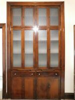 Antique 1900's Built-In CHINA CABINET Maple CRAFTSMAN Style Orig. Glass ORNATE