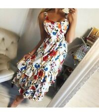 Womens Designer Inspired Runway Ruffle Casual Floral Print Summer Dress Size S/M