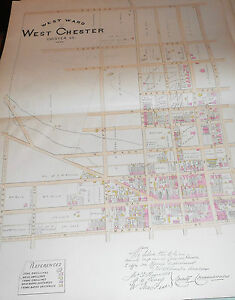 WEST WARD of WEST CHESTER CHESTER COUNTY 1883 LARGE COLOR MAP MARKET /GAY STREET