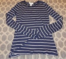 Womens Sailor Striped Shirt Long Sleeve Cotton Navy Blue White Forever 21 Crew