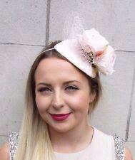 Blush Light Pink Ivory Rose Flower Fascinator Net Hair Headband Wedding Vtg 2892