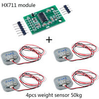 4pcs Weight Sensor 50kg Load Cell Half-bridge Strain + HX711 AD Amplifier Module