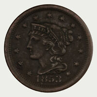 Raw 1853 Braided Hair 1C Uncertified Ungraded Copper Large Cent Coin